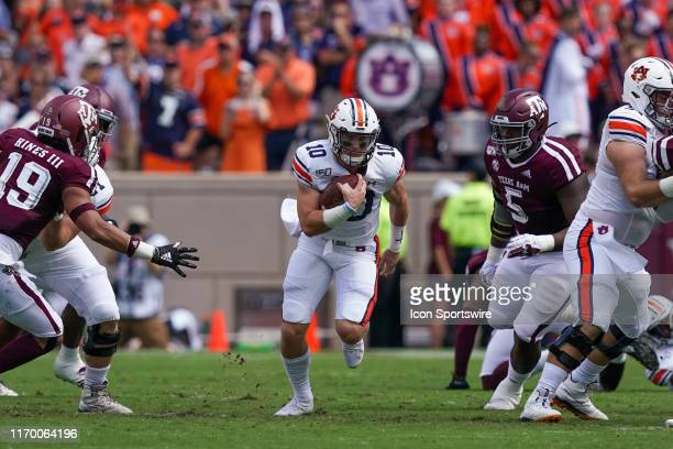 Auburn Tigers quarterback Bo Nix runs the ball during the game between the Auburn Tigers and the Texas AM Aggies on September 21 2019 at Kyle Field...