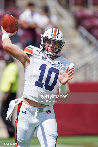 Auburn Tigers quarterback Bo Nix warms up before the game between the Auburn Tigers and the Texas AM Aggies on September 21 2019 at Kyle Field in...