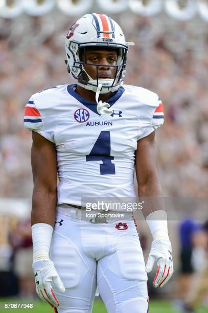 Auburn Tigers wide receiver Noah Igbinoghene warms up before the football game between Auburn and Texas AM on November 4 2017 at Kyle Field in...