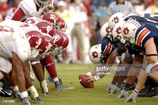 Auburn waits for the snap versus Alabama at JordanHare Stadium Auburn Alabama Nov 19 2005 Auburn defeated Alabama 2817