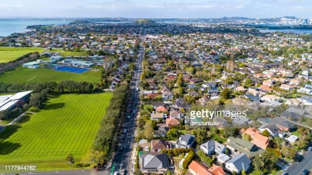 vista aerea di auckland - auckland foto e immagini stock