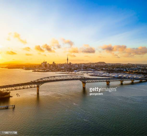 auckland at dawn - auckland stock pictures, royalty-free photos & images