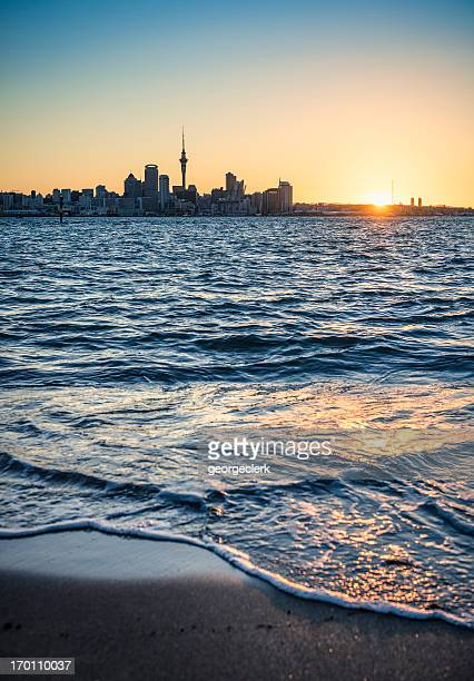 auckland at sunset - auckland stock pictures, royalty-free photos & images