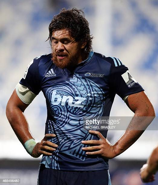Auckland Blues Steven Luatua reacts during the Super 15 rugby match between the Auckland Blues and Emirates Lions at Albany Stadium in Auckland on...
