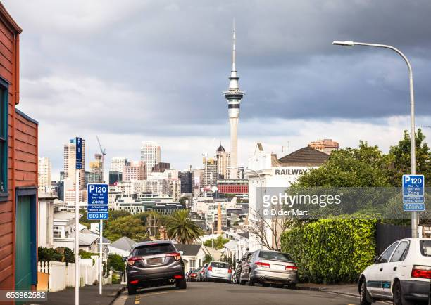 Auckland business district skyline in New Zealand largest city