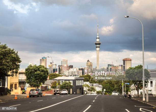 Auckland business district skyline in New Zealand