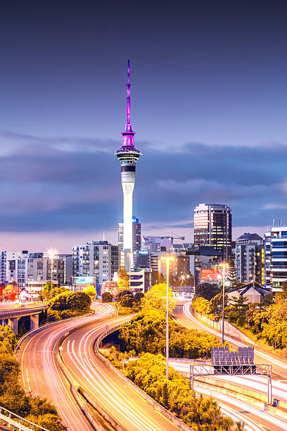 Auckland CBD At Dusk, New Zealand Wall Art