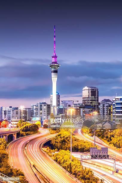 Auckland CBD at dusk, New Zealand