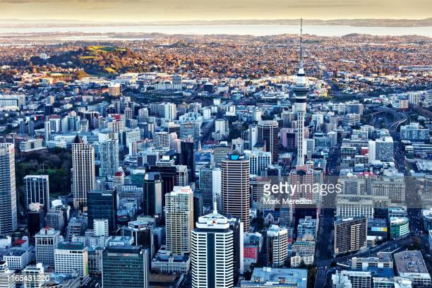 auckland cbd from above - auckland stock pictures, royalty-free photos & images