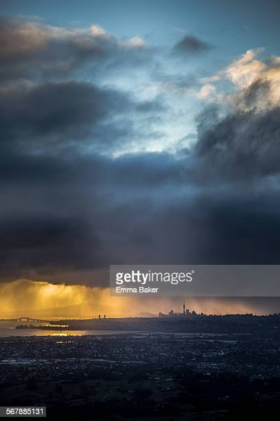 auckland cbd silhouette - emma baker stock pictures, royalty-free photos & images