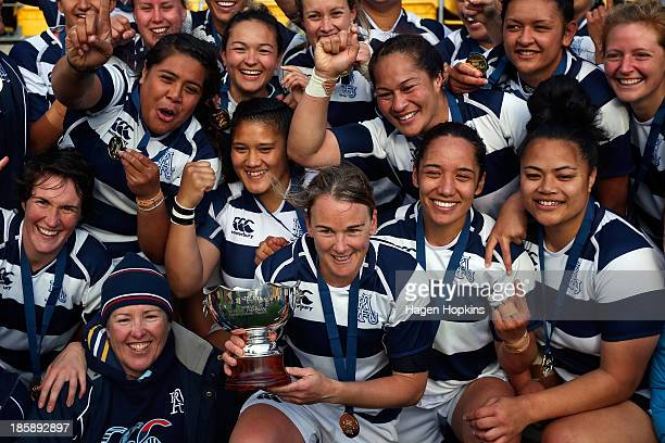 Auckland celebrate after winning the the Women's Provincial Final between Canterbury and Auckland at Westpac Stadium on October 26 2013 in Wellington...