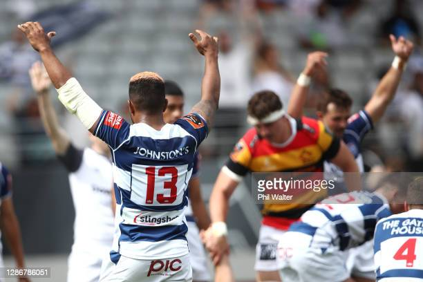Auckland celebrate on full time during the Mitre 10 Cup Semi Final match between Auckland and Waikato at Eden Park on November 21 2020 in Auckland...