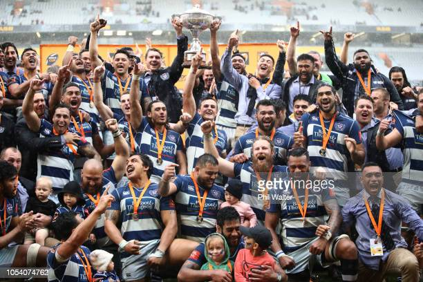 Auckland celebrate with the trophy during the Mitre 10 Cup Premiership Final match between Auckland and Canterbury at Eden Park on October 27 2018 in...