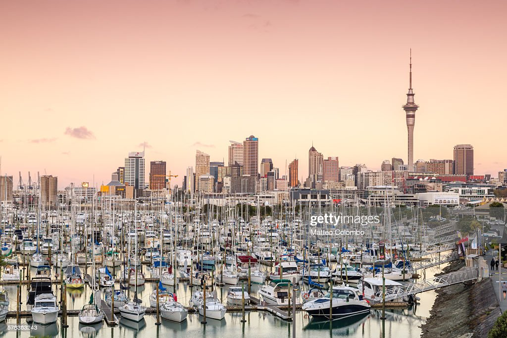 Auckland city and harbour at sunset, New Zealand : Stock Photo