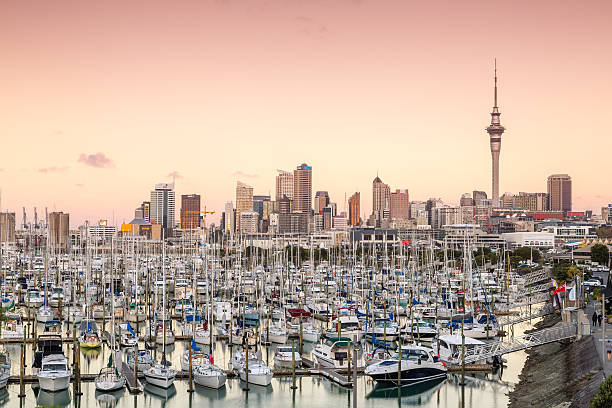 Auckland City And Harbour At Sunset, New Zealand Wall Art