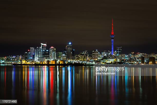auckland city at night - waitemata harbor stock photos and pictures