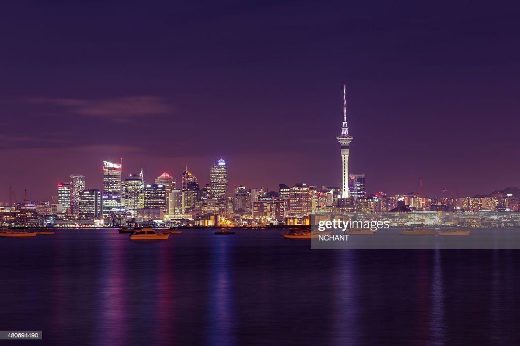 Auckland City at night : Stock Photo