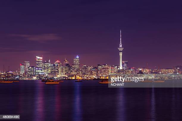 auckland city at night - auckland stock pictures, royalty-free photos & images