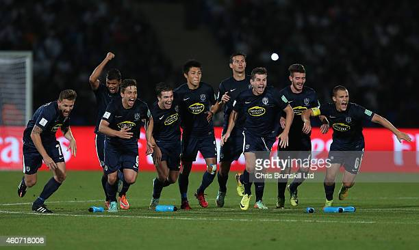 Auckland City celebrate after winning the penalty shoot out during the FIFA Club World Cup 3rd Place match between Cruz Azul FC and Auckland City FC...