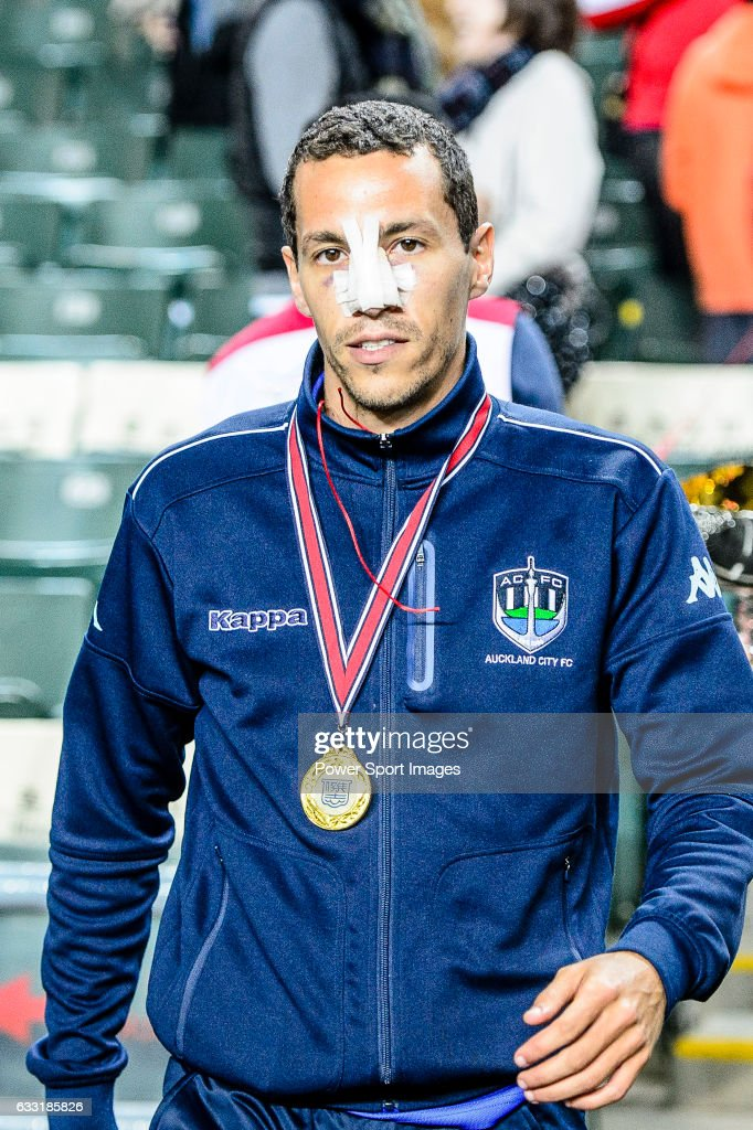 Auckland City Defender Angel Berlanga with his winner's medal after the 2017 Lunar New Year Cup match between SC Kitchee (HKG) and Auckland City FC (NZL) on January 31, 2017 in Hong Kong, Hong Kong.
