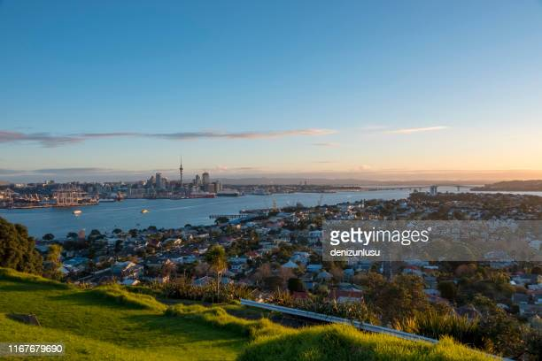 auckland city distant view - auckland stock pictures, royalty-free photos & images