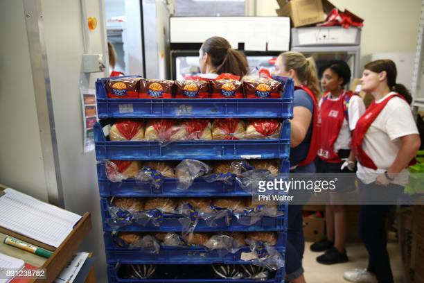 Auckland City Mission volunteers prepare food parcels for families in need over Christmas on December 13 2017 in Auckland New Zealand Hundreds of...
