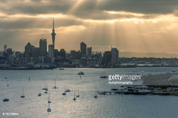auckland city, new zealand. - waitemata harbor stock photos and pictures