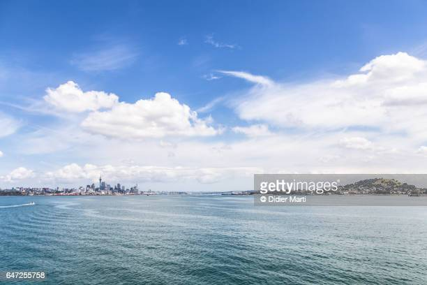 Auckland city skyline and the Davenport hill in New Zealand