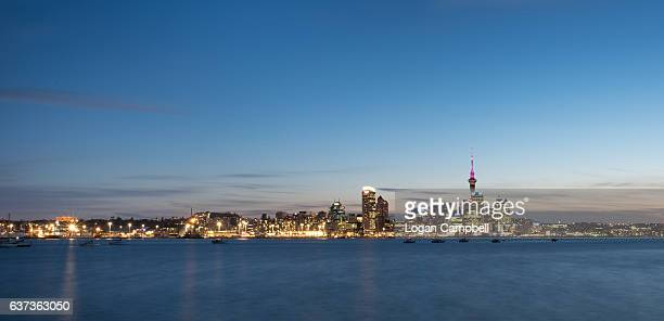 auckland city sunset wide - waitemata harbor stock photos and pictures