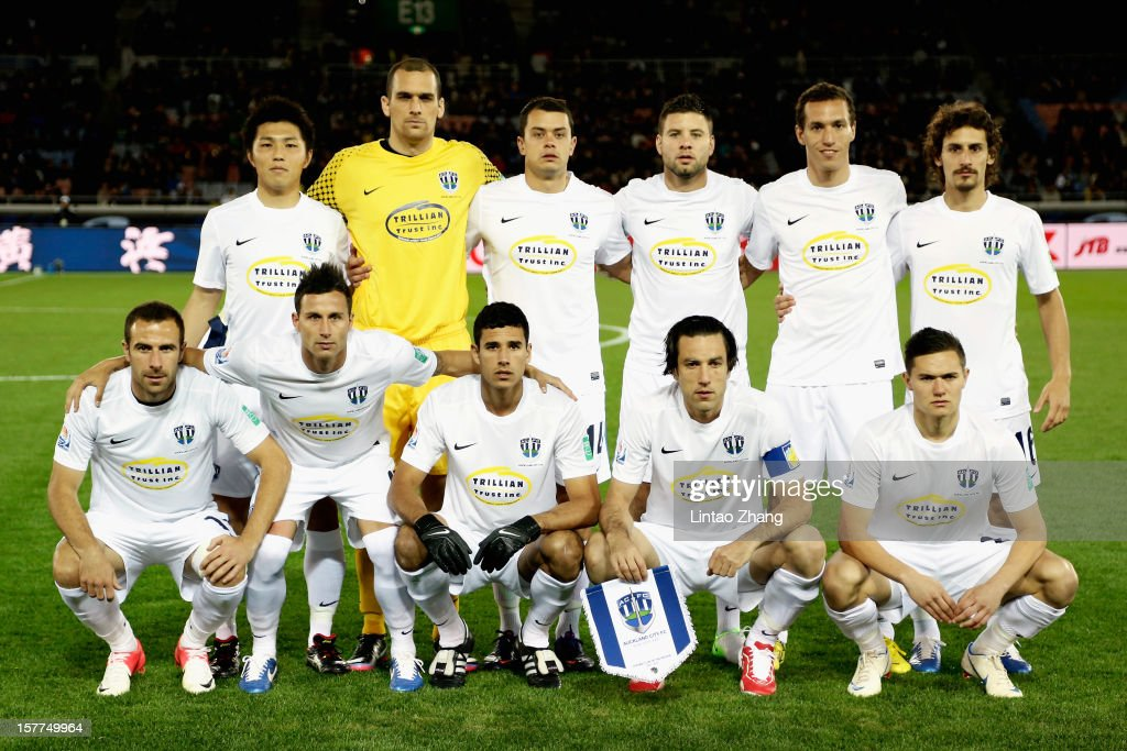 Auckland City team line up for the photo before during the FIFA Club World Cup match between Sanfrecce Hiroshima and Auckland City at International Stadium Yokohama on December 6, 2012 in Yokohama, Japan.