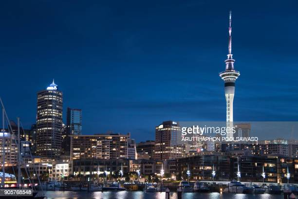 auckland city with auckland skyline at sunset and dusk twilight time , auckland port - urban sprawl stock pictures, royalty-free photos & images