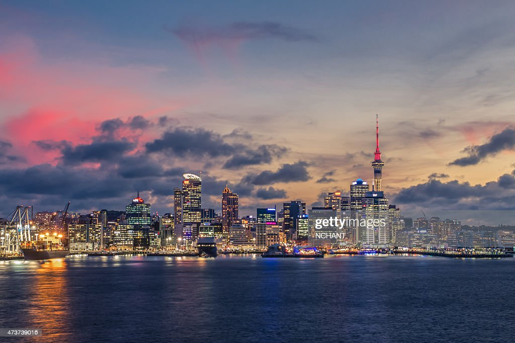Auckland city with dramatic sunset sky : Stock Photo