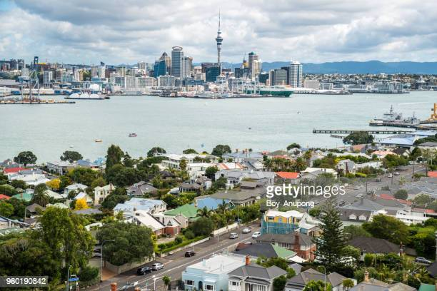 Auckland cityscape view from Devonport a harbourside suburb of Auckland, New Zealand.