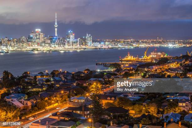 Auckland cityscape view from Mt.Victoria in Devonport, New Zealand.