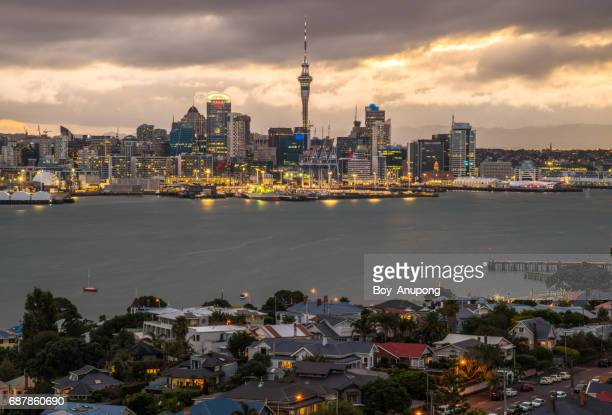 Auckland cityscape view from the top of Mount Victoria in Devonport suburbs of Auckland, New Zealand.