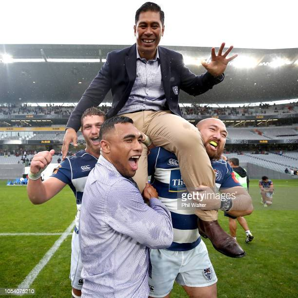Auckland coach Alama Ieremia is lifted up in celebration following the Mitre 10 Cup Premiership Final match between Auckland and Canterbury at Eden...
