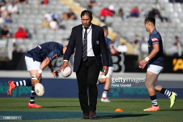 Auckland coach Alama Ieremia watches the team warm up during the Mitre 10 Cup Final between Auckland and Tasman at Eden Park on November 28, 2020 in...