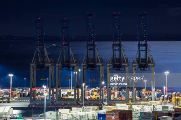 auckland docks at night - auckland stock pictures, royalty-free photos & images