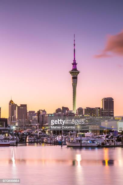 auckland financial district and harbour at dawn, new zealand - auckland stock pictures, royalty-free photos & images