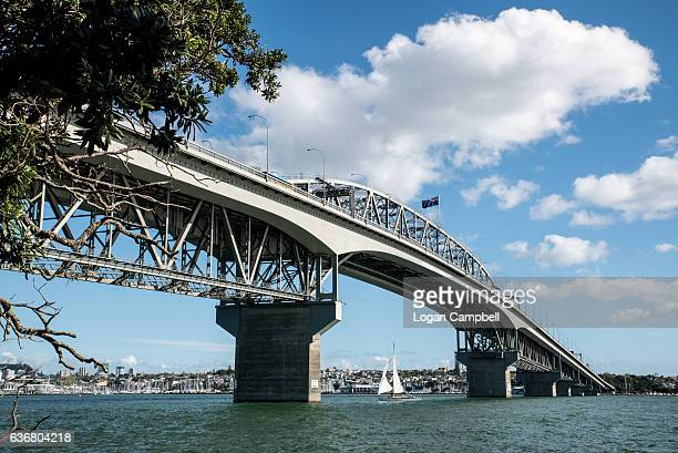 auckland harbour bridge with yaht - waitemata harbor stock photos and pictures