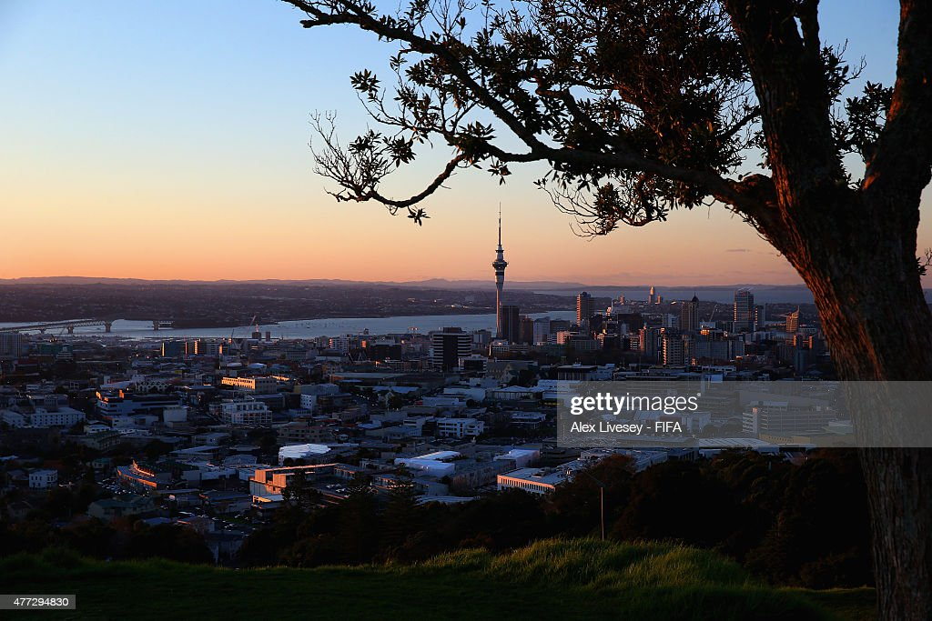 Auckland is seen from Mount Eden as the sun sets during FIFA U-20 World Cup on June 16, 2015 in Auckland, New Zealand.