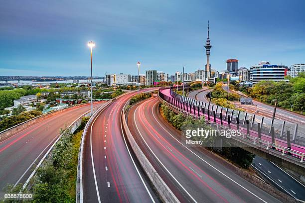 auckland light path bicycle lane highway traffic new zealand - auckland stock pictures, royalty-free photos & images