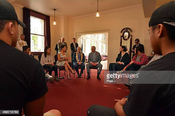 Auckland Mayor Len Brown accompanies Prince Charles, Prince of Wales as he visits Nga Rangatahi Toa on November 8, 2015 in Auckland, New Zealand. The...