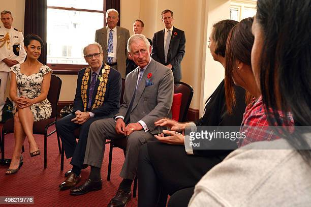 Auckland Mayor Len Brown accompanies Prince Charles Prince of Wales as he visits Nga Rangatahi Toa on November 8 2015 in Auckland New Zealand The...