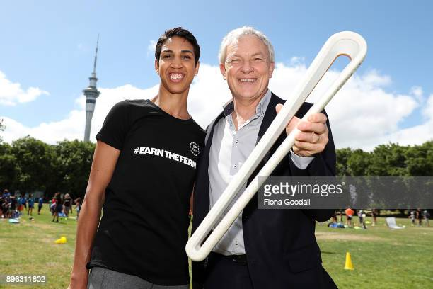 Auckland Mayor Phil Goff and boxer Alexis Pritchard with the Queens Baton during the Queens Baton Relay at Victoria Park on December 21 2017 in...