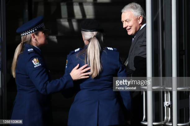 Auckland Mayor Phil Goff arrives at Eden Park for the funeral of Constable Matthew Hunt on July 09, 2020 in Auckland, New Zealand. Constable Matthew...