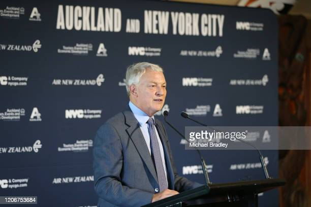 Auckland Mayor Phil Goff speaks after the powhiri and official welcome during the NYCGO & ATEED City To City Tourism Partnership Launch Event between...
