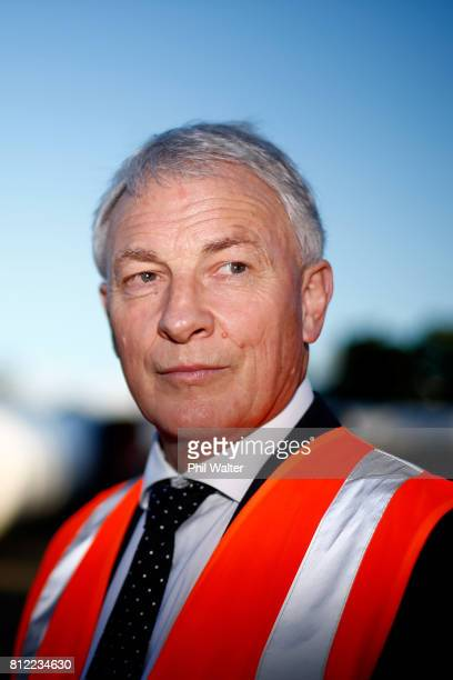 Auckland Mayor Phil Goff speaks at the Watercare pipe storage facilties on July 11, 2017 in Auckland, New Zealand. Prime Minister Bill English today...