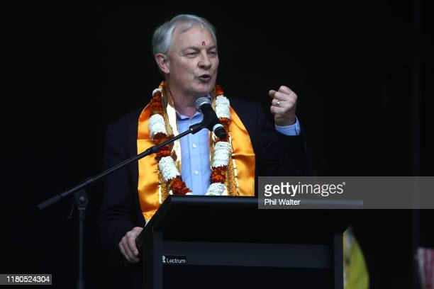 Auckland mayor Phil Goff speaks on stage during the 18th Auckland Diwali Festival on October 12, 2019 in Auckland, New Zealand. Auckland Diwali...