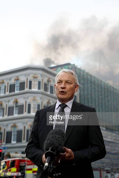 Auckland Mayor Phil Goff speaks to media after a fire broke out on the roof top of the SkyCity Convention Centre on October 22, 2019 in Auckland, New...